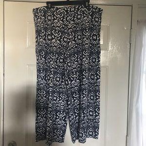 Lauren Navy/Cream Print Pants SZ  XXL